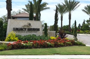 Legacy Estates landscaped entrance